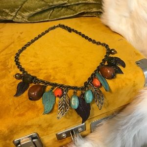 Leaf and Beaded Necklace